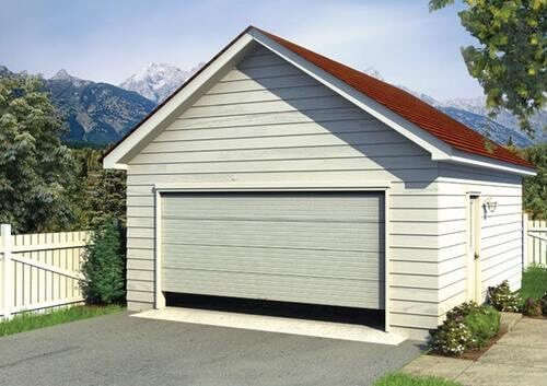 garage with a gable roof